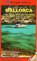 MALLORCA MAP – POLLENÇA, PORT DE POLLENÇA, ALCUDIA, PORT D'ALCUDIA AND CAN PICAFORT, IN SPANISH, FRENCH, ENGLISH, GERMAN AND ITALIAN