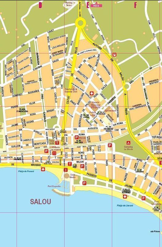 Map Of Spain Showing Salou.Map Of Salou Cambrils La Pineda In Catalan Spanish English