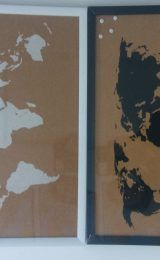 CORK WORLD MAP (1 WHITE AND 1 BLACK)...